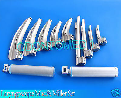 Laryngoscope Mac Miller Set Of 9 Blades 2 Handles Emt Intubation No Case
