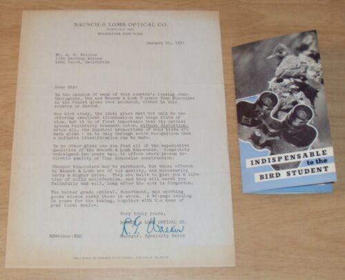 "RARE 1937 BINOCULAR Ad Letter/Brochure~""BAUSCH & LOMB""~Yellowstone Naturalist~"