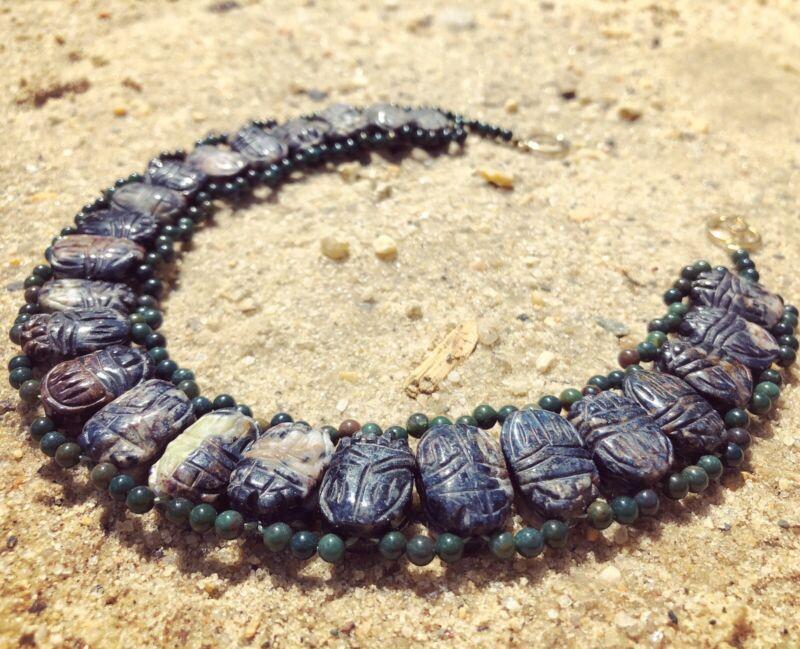 Antique Vintage 15k Rolled Gold Egyptian Bloodstone Agate Scarab Beetle Necklace
