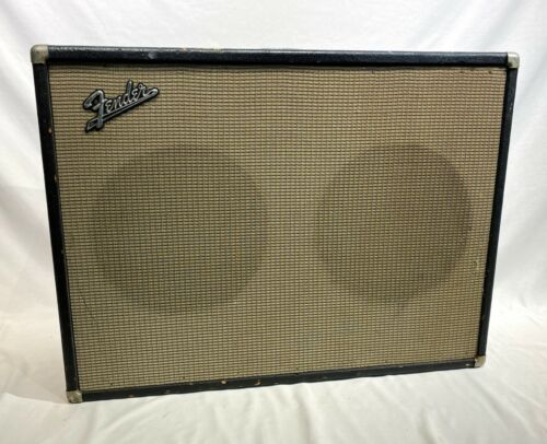 Vintage 1966 Fender 2x12 Guitar Amplifier Speaker Cabinet Original Jensen Spks.