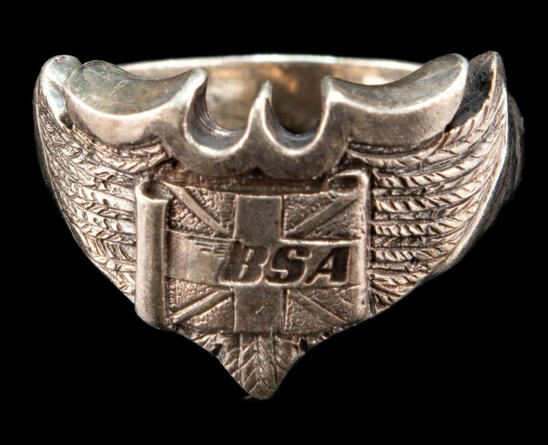 Vintage Sterling Silver BSA Ring  A.S.Co Size 9 1/2