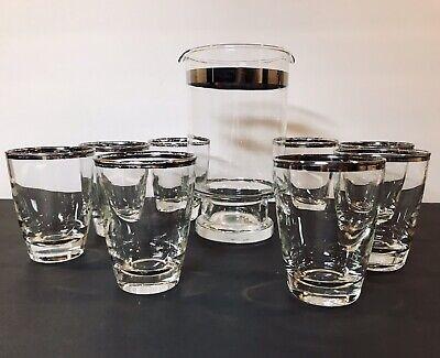 Vintage 1950's Barware Set Pitcher w/ 8 Glasses Silver Trim MCM