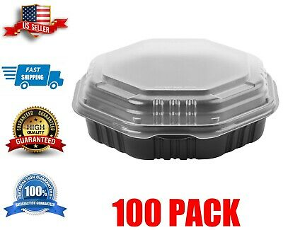 100 Case 51 Oz. Hinged Take-out Container Black Microwaveable Plastic
