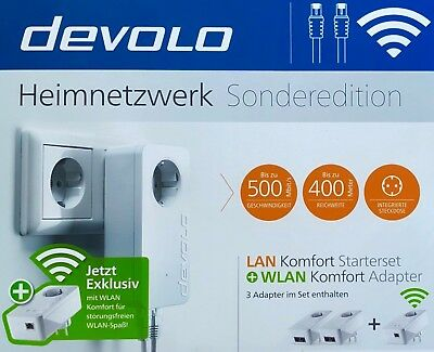 DEVOLO Heimnetzwerk Sonderedition Lan Komfort + WLAN Komfort (3 Adapter im Set)