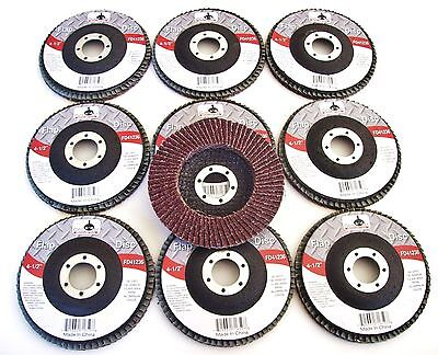 "10 GOLIATH INDUSTRIAL 4-1/2"" FLAP DISCS 36 GRIT FD41236 ANGLE GRINDER WHEEL 4.5"""