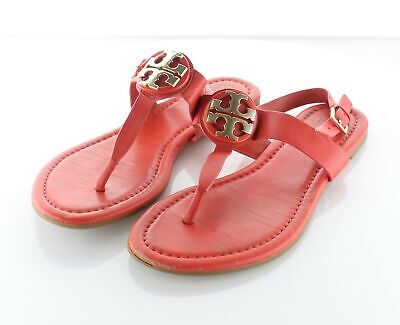 21-63 $228 Women's Sz 7 M Tory Burch Bryce Leather Thong Ankle Strap Sandals
