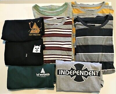 Lot of 8 Men's Size Small Shirts HUF OBEY ACTIVE RIPNDIP Good Used Condition