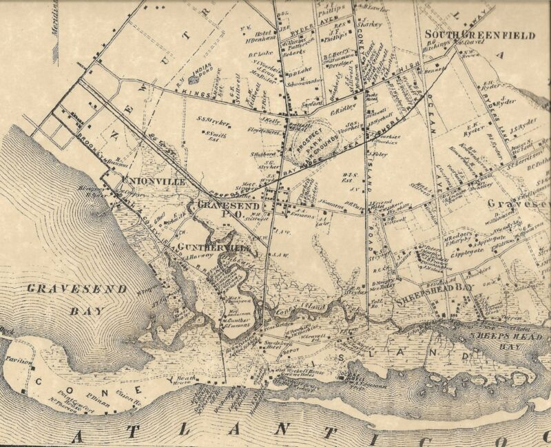 Flatlands Canarsie Bensonhurst Coney Island NY 1873 Maps Homeowners Names Shown