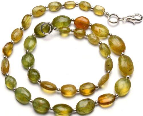 "Natural Gem Bottle Green Apatite Necklace Rough Unpolished Nugget Beads 17"""