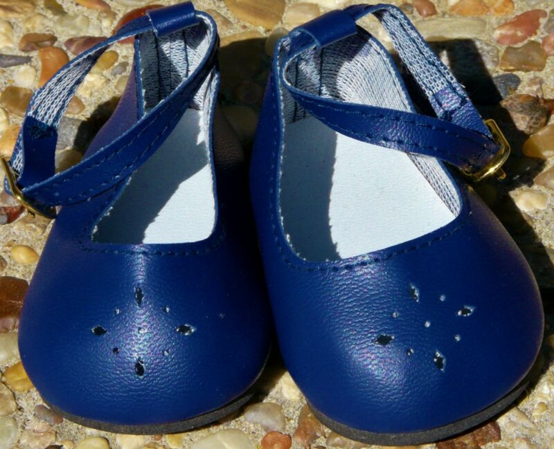 "Navy Diamond Cut Ankle Strap Shoes to fit 22"" Dolls, 85mm / 44mm, New"