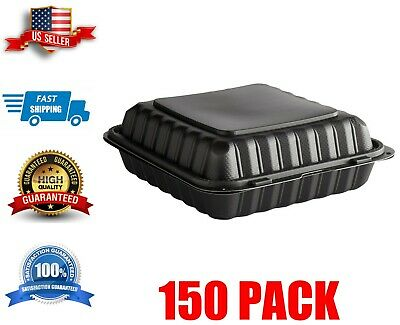 150 Case 9 X 9 Take-out Container 1-compartment Black Plastic Hinged