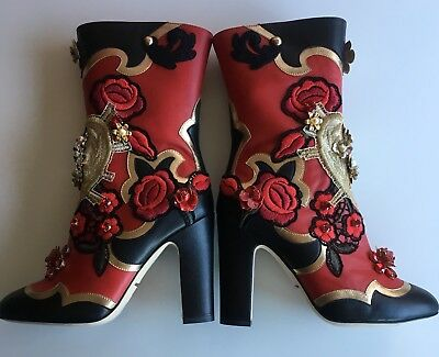 NIB DOLCE&GABBANA Red & Black Embellished Embroidered Leather Booties Boots 38