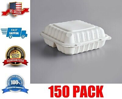150 Case 8 X 8 Take-out Container 3-compartment White Plastic Hinged