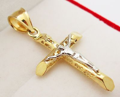 Mens 10k Two Tone Gold Cross Charm Crucifix Pendant 1.5 inch