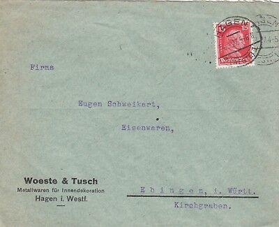 HAGEN, Briefumschlag 1927, Woeste & Tusch Metallwaren für Innendekorationen