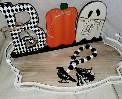 Fall/ Halloween Farmhouse white & black Crow wood bead Garland