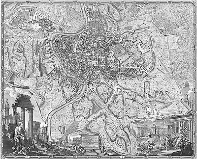 MAP OF OLD ROME ROMA ITALY ENGRAVING PRINT ITALIAN ART GIAMBATTISTA NOLLI NEW!