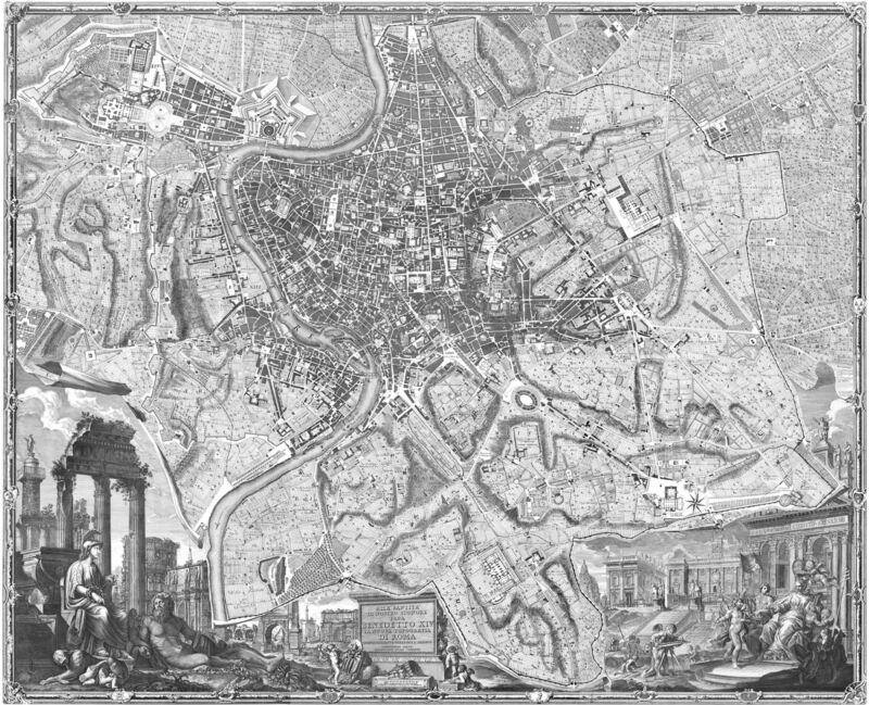 MAP OF OLD ROME ROMA ITALY ENGRAVING PRINT ITALIAN ART GIAMBATTISTA NOLLI NEW!