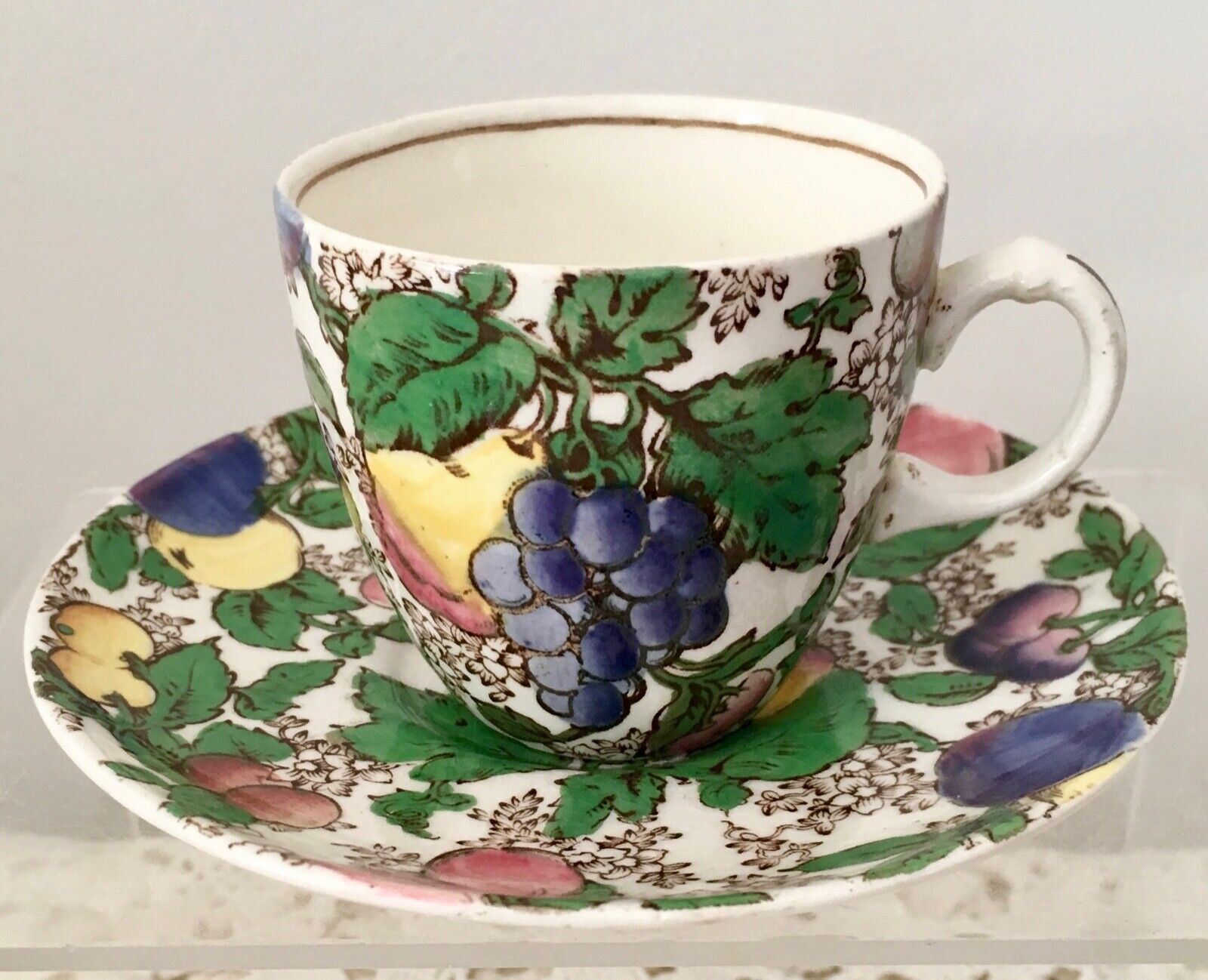 BOOTHS ENGLAND SILICON CHINA 'EVESHAM' PATTERN DEMITASSE CUP & SAUCER FRUIT
