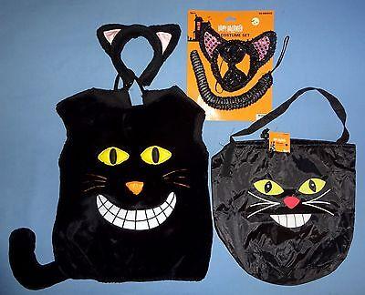 PLUSH BLACK CAT COSTUME-child-1-sz;ears;tail;bowtie;Halloween trick or treat bag