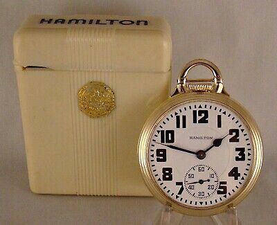 "ANTIQUE HAMILTON ""992E"" 21j 10k GOLD FILLED OPEN FACE 16s RAILROAD POCKET WATCH"