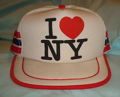 1980s VINTAGE I HEART NEW YORK SNAPBACK HAT White Love City Mesh Trucker Nice