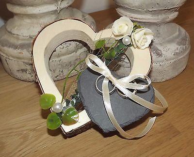 Ringkissen Ringhalter Holzherz mit kleinem Schieferherz für Eheringe Hochzeit