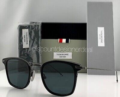 Thom Browne Clubmaster Sunglasses Black Metal Black Gray Lens TBS905-49-01 NEW