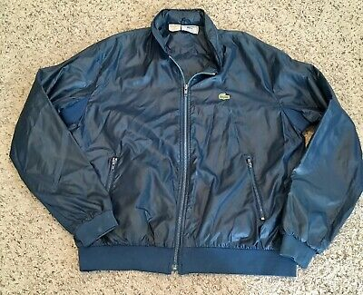 Vintage Izod Lacoste Nylon Blue Hidden Hood Windbreaker Jacket Size XL