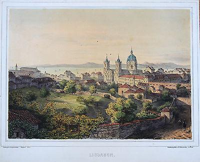 Trentsensky: Orig. altkol. Lithografie Lissabon Portugal Lisboa Panorama; 1850