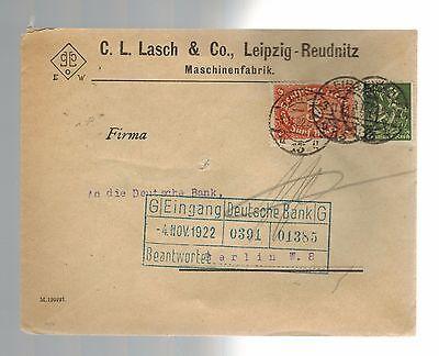 1922 Lasch   Co  Leipzig   Reudnitz To Berlin Deutsche Bank Cover