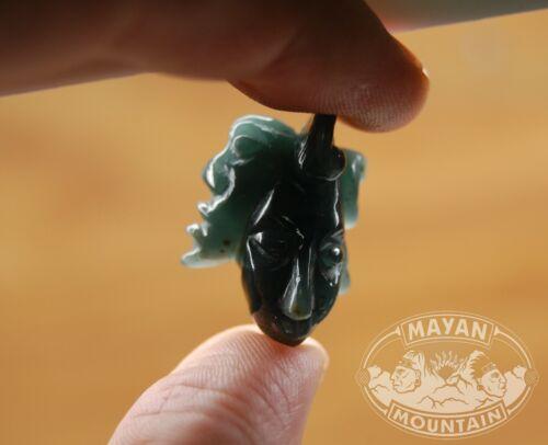 SMALL BLUE MAYAN FACE JADE PENDANT WARRIOR GUATEMALAN JADEITE MAYA MASK MF-14