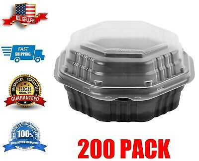 200 Case 22 Oz. Hinged Take-out Container Creative Supreme Black Plastic