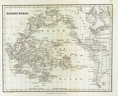 Old Map of Pacific Ocean c1831 by Arch Fullerton original steel engraved