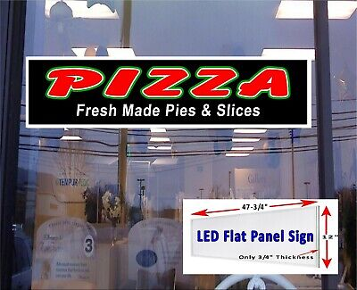 Pizza Fresh Made Pies And Slices Led Illuminated Window Sign 48x12
