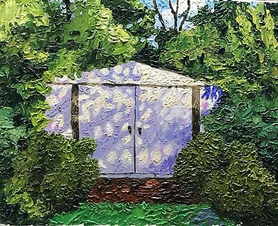 Original Impressionist Impasto Oil Landscape Painting 16x20 Over Grown Shed