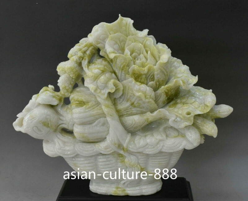 """13"""" China Natural Green Jade Carving Wealth Flower basket Cabbage Baicai Statue"""