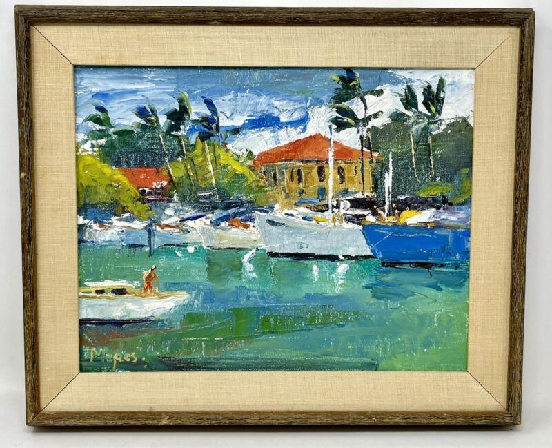 RARE Vintage Lowell Mapes Hawaiian Oil Painting Harbor Scene