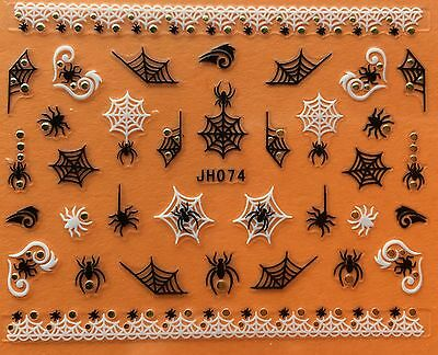 Nail Art 3D Decal Stickers Halloween Spider Web JH074 - Halloween Spider Nails