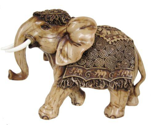 "Large Elephant Statue Feng Shui Trunk Up Good Luck Thailand Sculpture Resin 9"""