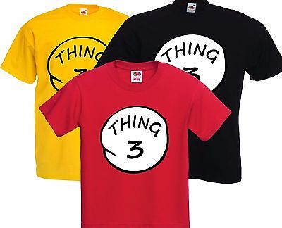 THING THREE (3) Dr Suess, Cat in the Hat , T Shirt Movie fancy Dress, Stag Party](Dr Suess Party Hats)