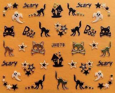 Nail Art 3D Decal Stickers Halloween Scary Black Cat Stars Ghost JH079 - Scary Halloween Nails