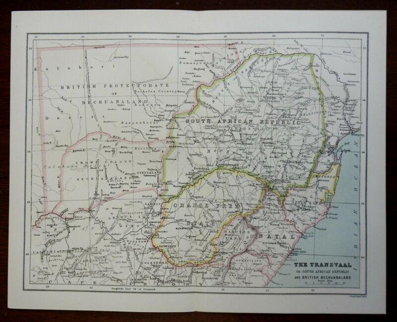 Boer Republics Orange Free State South African Republic 1887 Bartholomew map