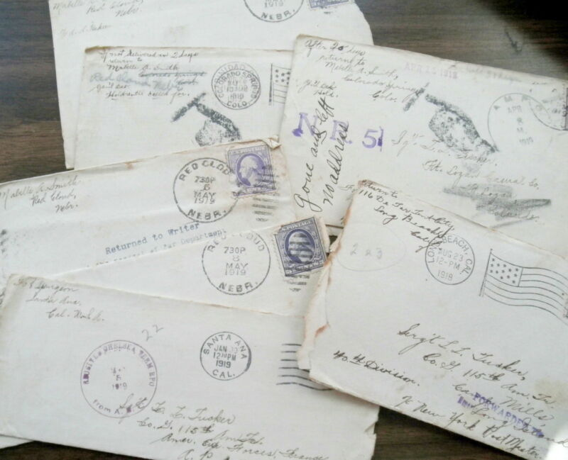 7 - 1919 WWI UNITED STATES ARMY 40TH DIVISION REDIRECTED MAIL COVERS