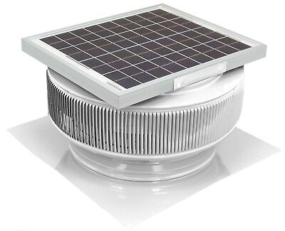 Aura Vent Solar Fan 14 In Exhaust Roof Ventilator15w 17v 1007 Cfm White