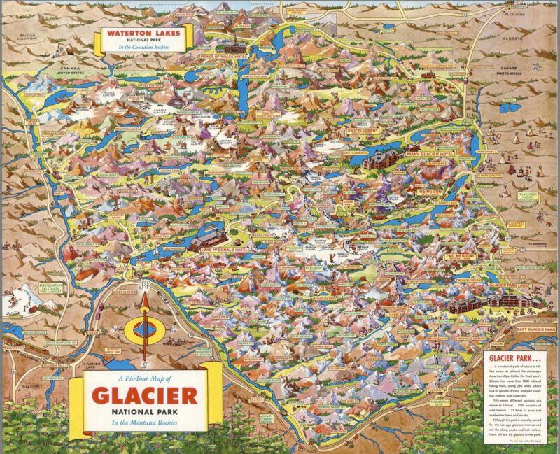 1953 pictorial map Pic-Tour Glacier National Park Montana Rockies POSTER 8868003