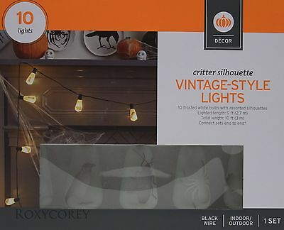 Halloween 10 Count Critter Silhouette Vintage Style Lights Black Wire NIB