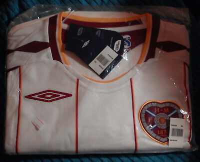 HEARTS FOOTBALL CLUB 2007-08 WHITE AWAY SHIRT UMBRO XXL BNWT HEART OF MIDLOTHIAN image