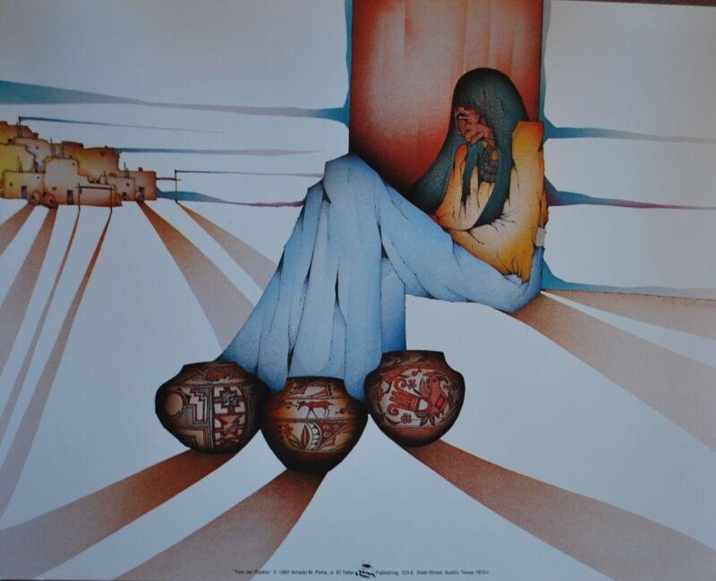 "Amado Pena Mini Prints ""TRES DEL PUEBLO"" 1987 (7810) SIGNED 8x10"