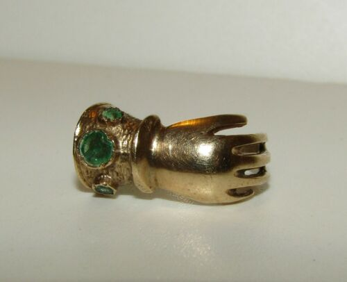 RARE, VINTAGE, ANTIQUE STYLE 9 CT GOLD GIMMEL FEDE HAND NATURAL EMERALDS RING